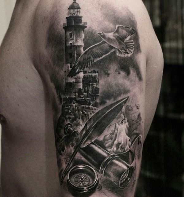 30 lighthouse tattoo ideas tattoo tatoos and sailing for Ocean tattoos black and white