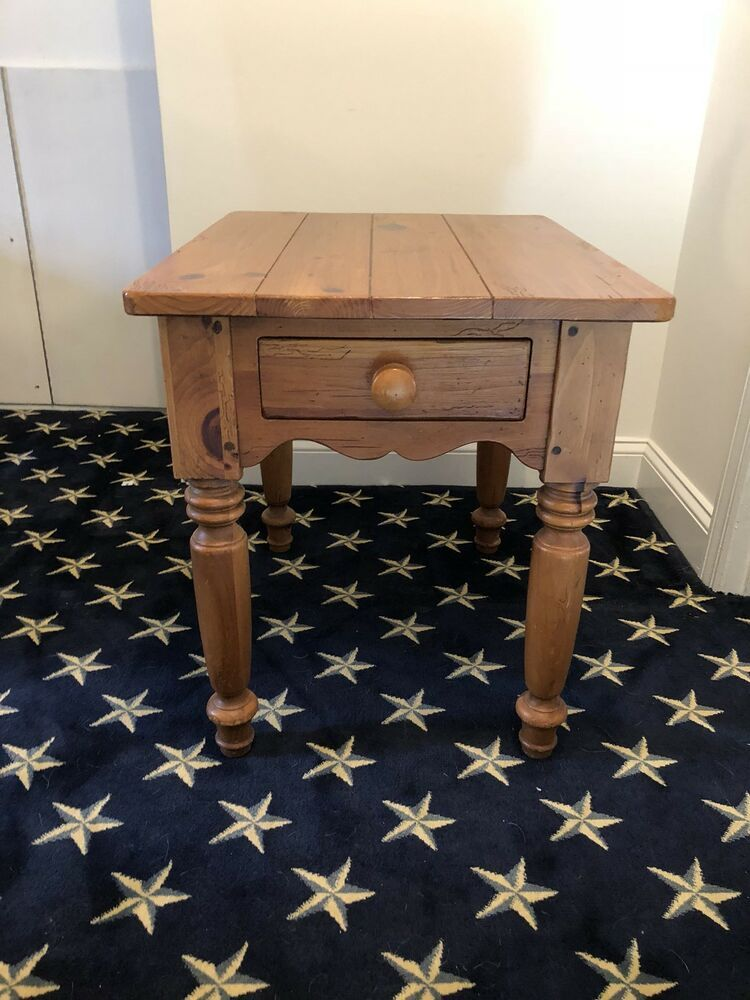 Ethan Allen End Table Farmhouse Weathered Distressed Pine