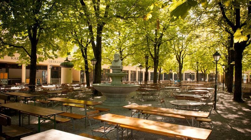 The famous Paulaner beer gardens in Munich and worldwide