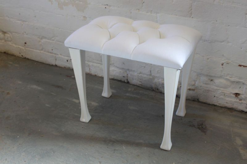 Dressing Table Stool White Oned Seatpad Legs Ebay