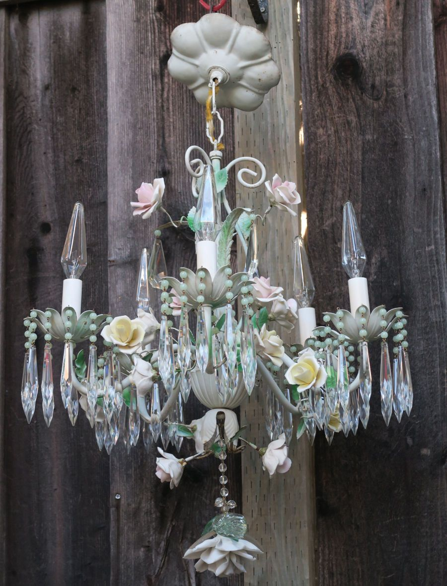 Chandelier French Antique Shabby Tole beaded Barbola cabbage Rose chic  Vintage - Chandelier French Antique Shabby Tole Beaded Barbola Cabbage Rose