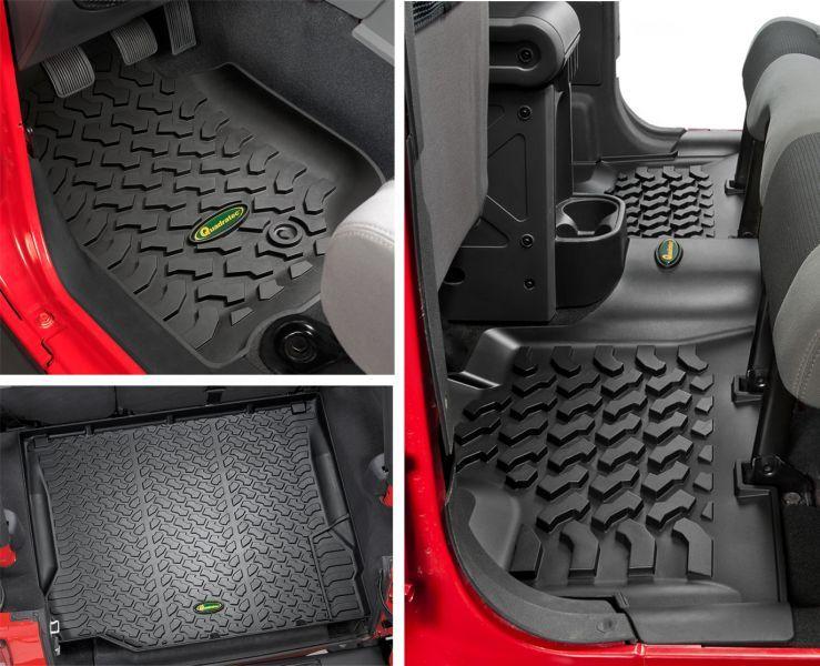 Quadratec Ultimate All Weather Floor Liner Triple Combo For 07 13 Jeep Wrangler Unlimited Jk 4 Door Jeep Wrangler Unlimited Jeep Wrangler Accessories Wrangler Accessories