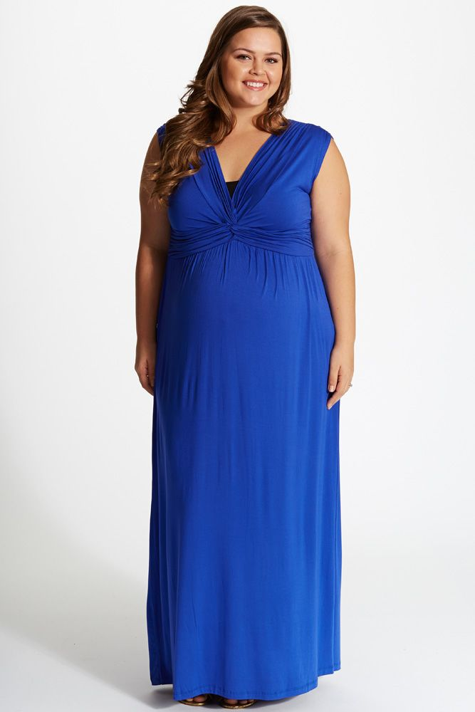 Royal-Blue-Draped-Plus-Size-Maternity/Nursing-Maxi-Dress in ...