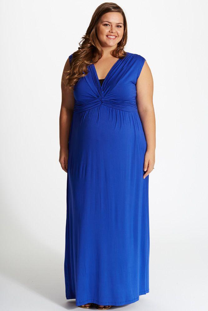 royal blue draped plus size maternity/nursing maxi dress | maxi