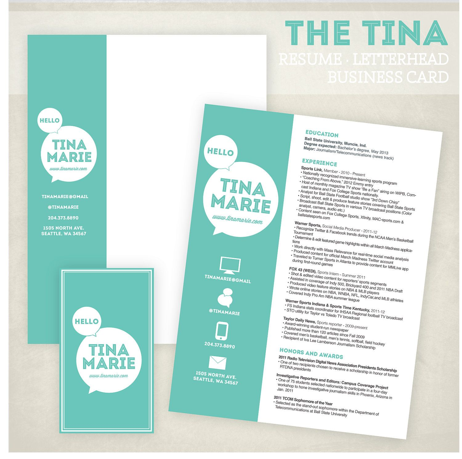 Resume, business card and letterhead design pack | Designs <3 ...
