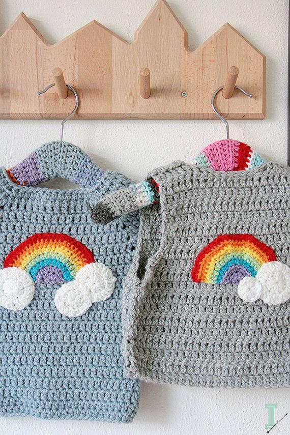 Crochet chaleco del bebé nubes y arco iris por idalifestyle   tops ...