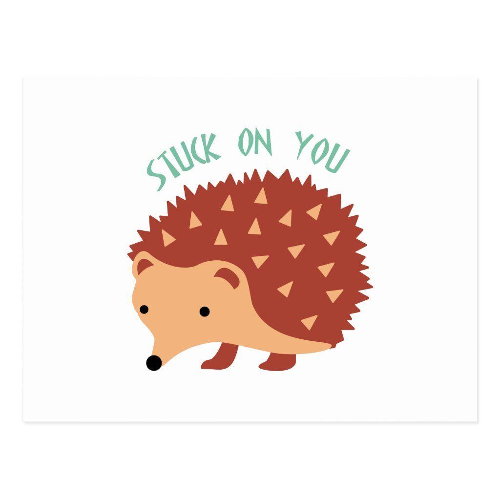 porcupine postcard stuck on you handmade love card