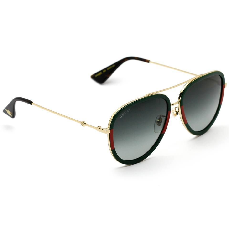 Gucci 0062S Aviator Sunglasses Green and Red Frame with Grey Lens ...