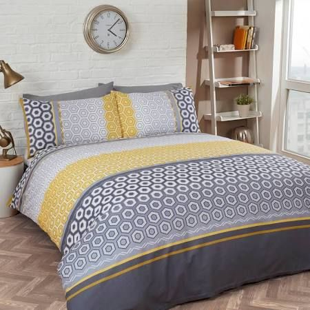 Mustard And Grey Linen Fabric Google Search Geometric Duvet Cover Duvet Cover Sets Geometric Duvet
