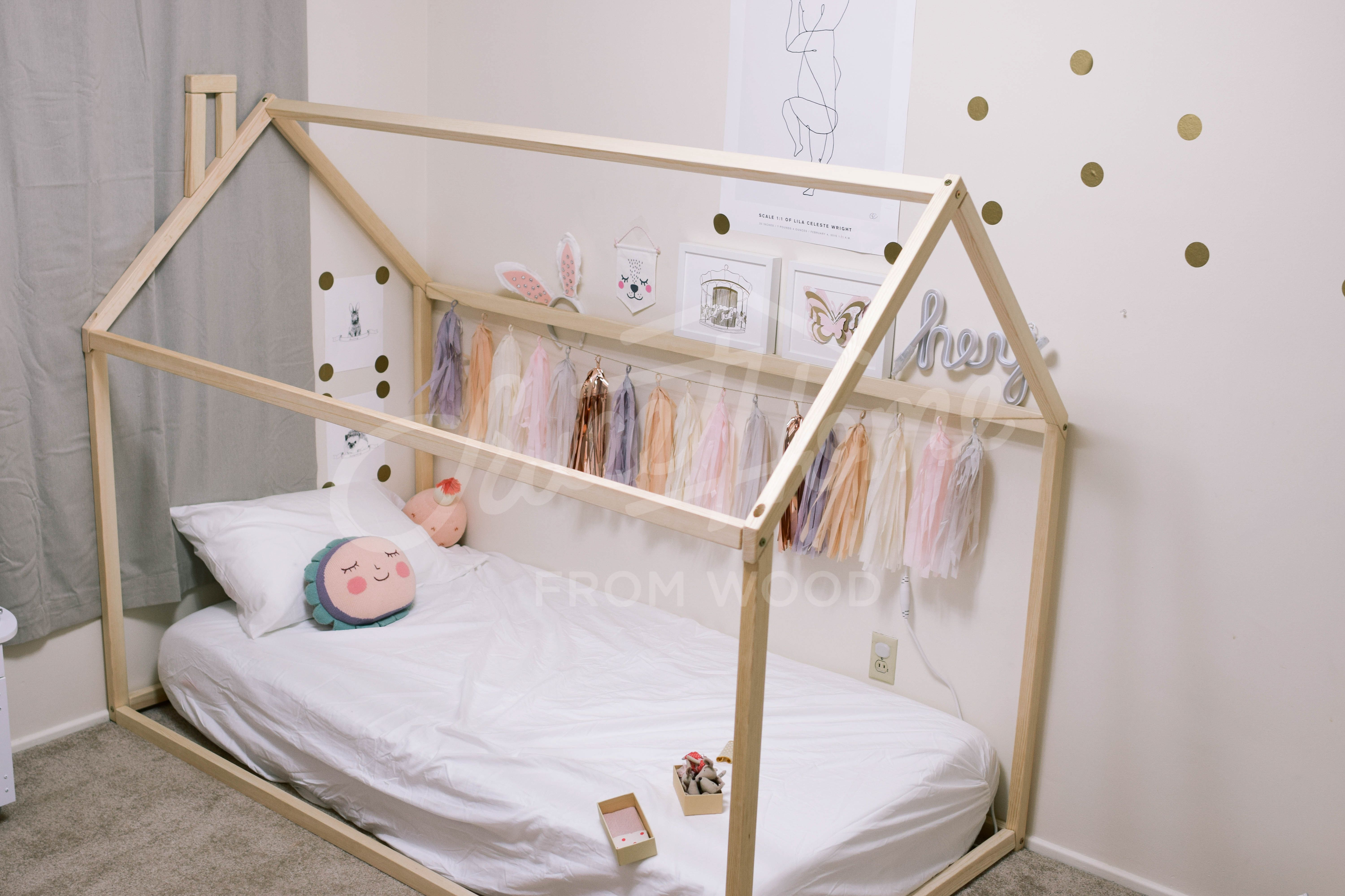 Wooden House Bed Frame Platform Bed Teepee Bed Wood Bed Etsy In 2020 House Frame Bed Bed Tent House Beds