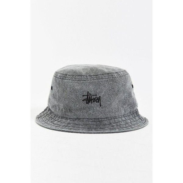 e0c8e120 Stussy Signature Bucket Hat ($30) ❤ liked on Polyvore featuring men's  fashion, men's accessories, men's hats and washed black