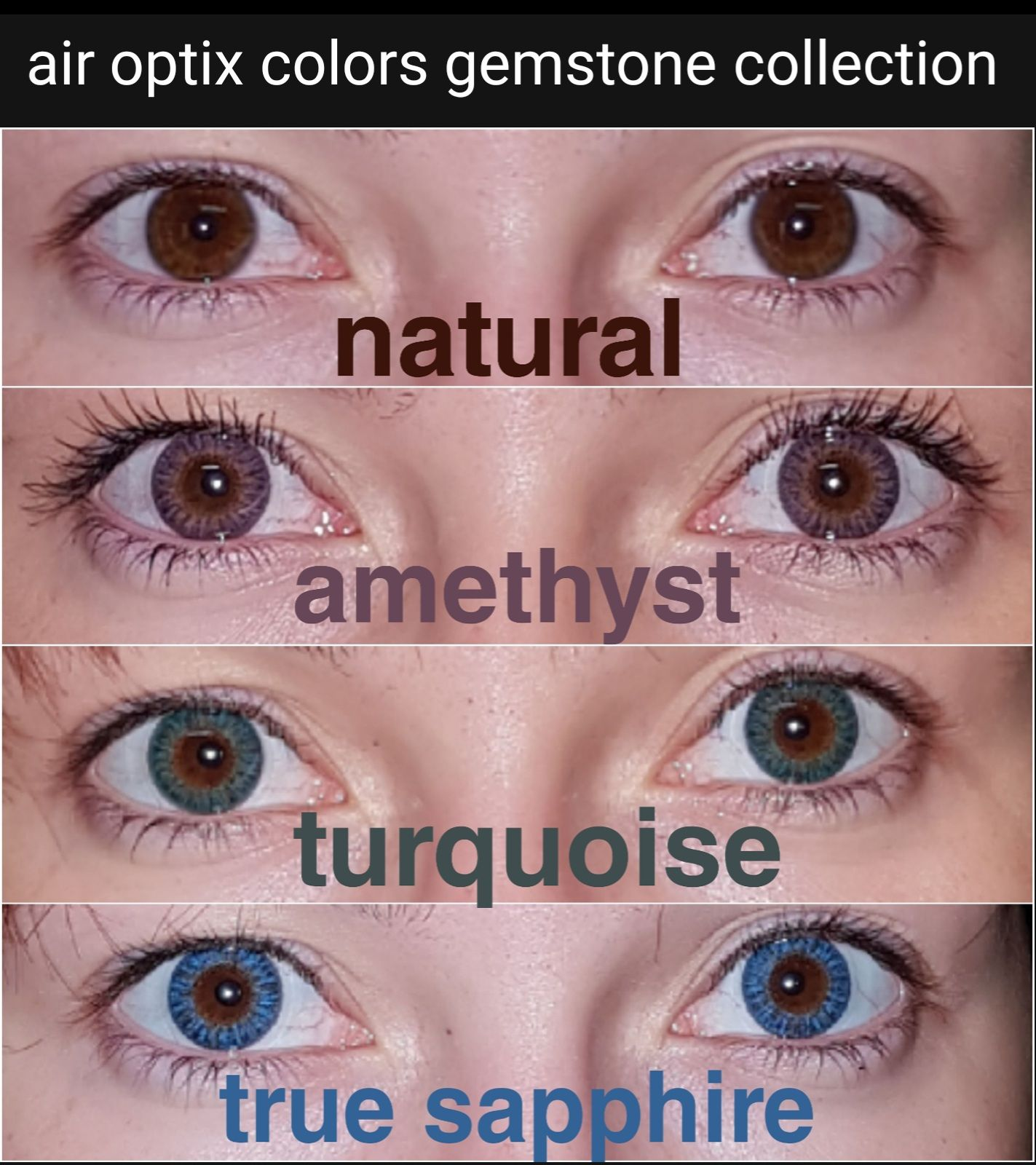 air optix colors gemstone collection on dark eyes
