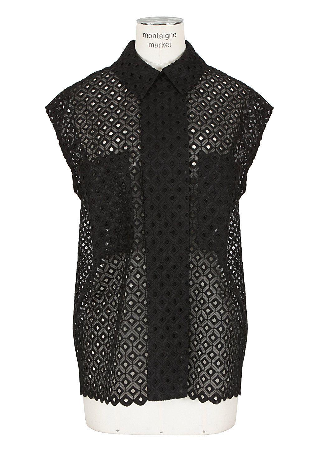Stella McCartney Top :: Stella McCartney black sleeveless cotton blend and silk open shirt | Montaigne Market