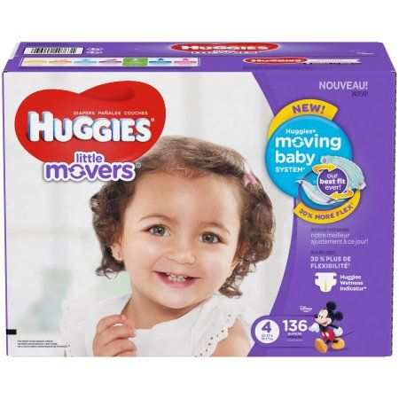 Huggies Little Movers Diapers, Size 4, 136 Diapers, White
