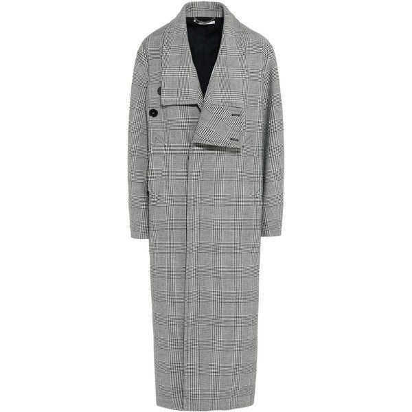 Stella Mccartney Flor Grey Check Long Coat (€1.420) ❤ liked on Polyvore featuring outerwear, coats, black, grey wool coat, long wool coats, oversized wool coats, asymmetrical coat and long coat