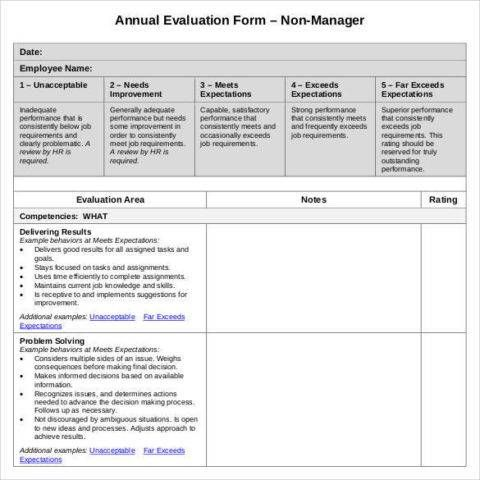 annual employee evaluation form Accounting Employee evaluation