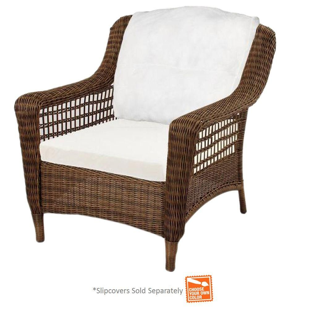 Hampton Bay Spring Haven Brown Wicker Patio Lounge Chair With Cushion Insert Slipcovers Sold Separately