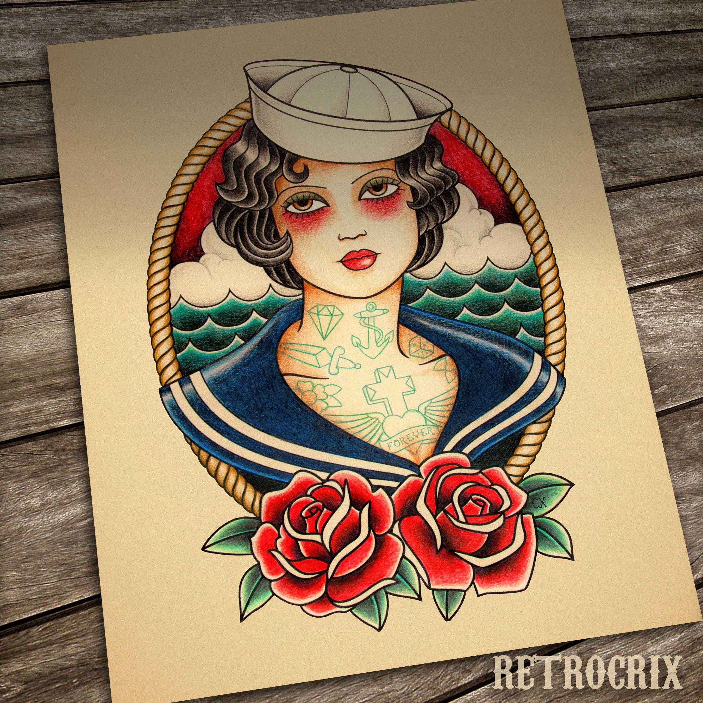 Sailor Girl Tattoo Print Nautical Tattoo Traditional Tattoo Etsy In 2020 Nautical Tattoo Old School Tattoo Girl Tattoos