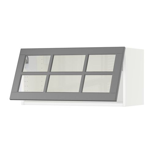 Sektion Horizontal Wall Cabinet Glass Door White Bodbyn Gray