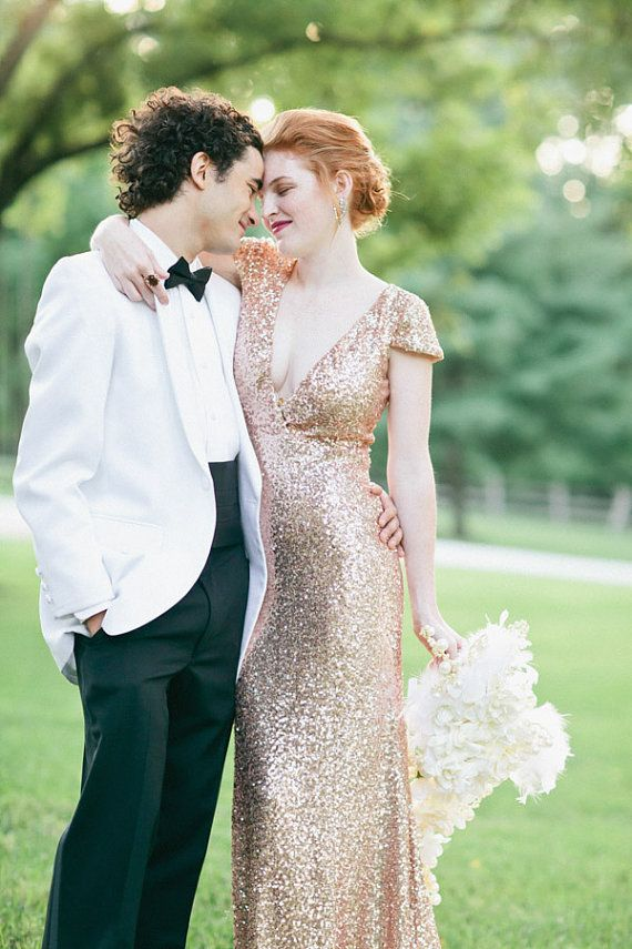 Bacall - Rose Gold Paillettes Old Hollywood Wedding Gown | Brautkleid