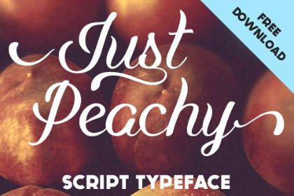 Just Peachy Script free demo is a clean, yet expressive script typeface. Large, swooping strokes create dynamic thicks and thins