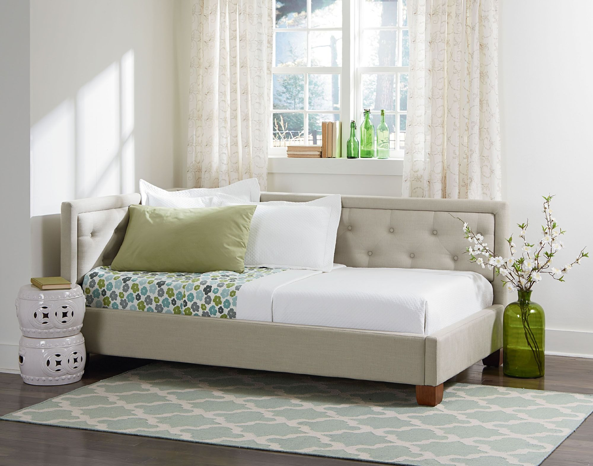 Carmen Daybed Twin Upholstered Corner Bed by Standard