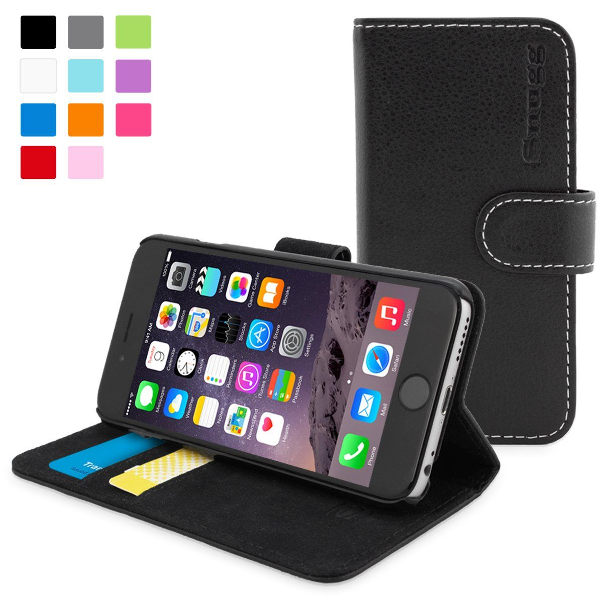 new products 1c689 d2684 Snugg iPhone 6 Leather Flip Case in Black - Flip Wallet case with ...