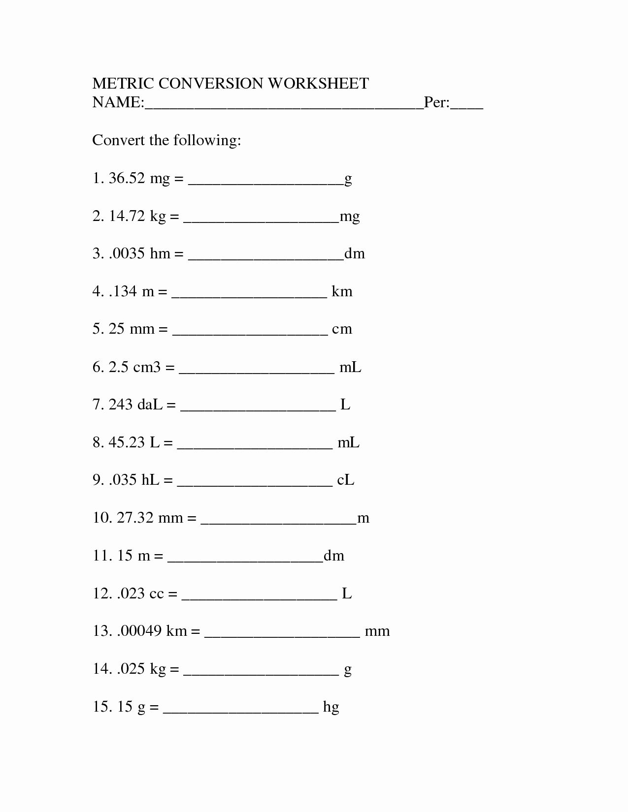 English To Metric Conversion Worksheet Lovely 12 Best Of