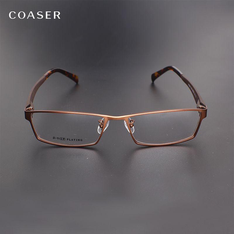 coaser men glasses frame full square big wide metal reading myopia optical prescription computer eyeglasses clear - Wide Frame Reading Glasses