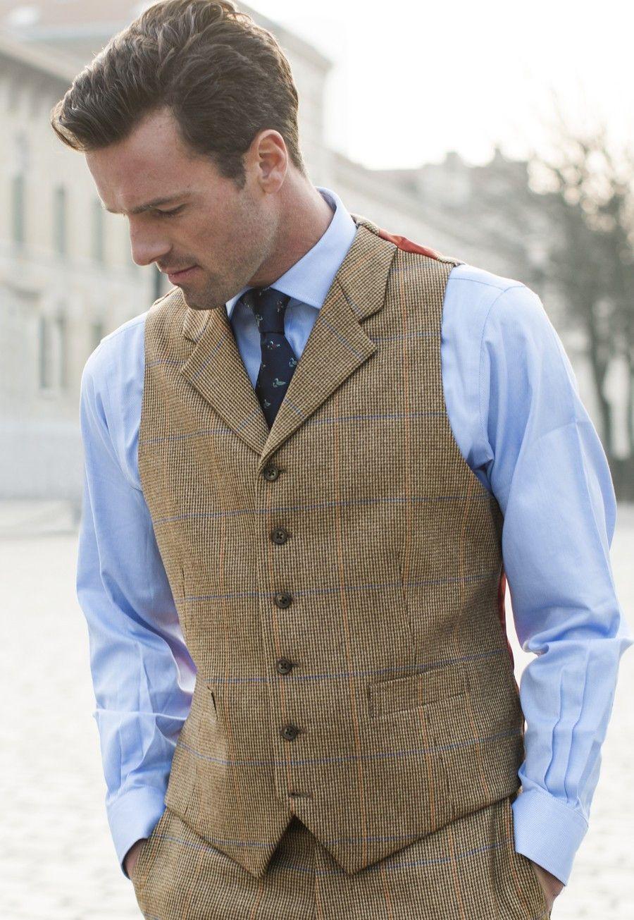 Man's Tweed Waistcoat- Johnstones of Elgin Pure New Wool Check, , Mix & Match Suit Ackroyd. avana-collection.com