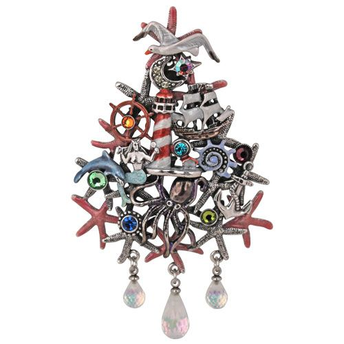 Newport Storm Christmas Tree Pin/Enhancer (Antique Silvertone
