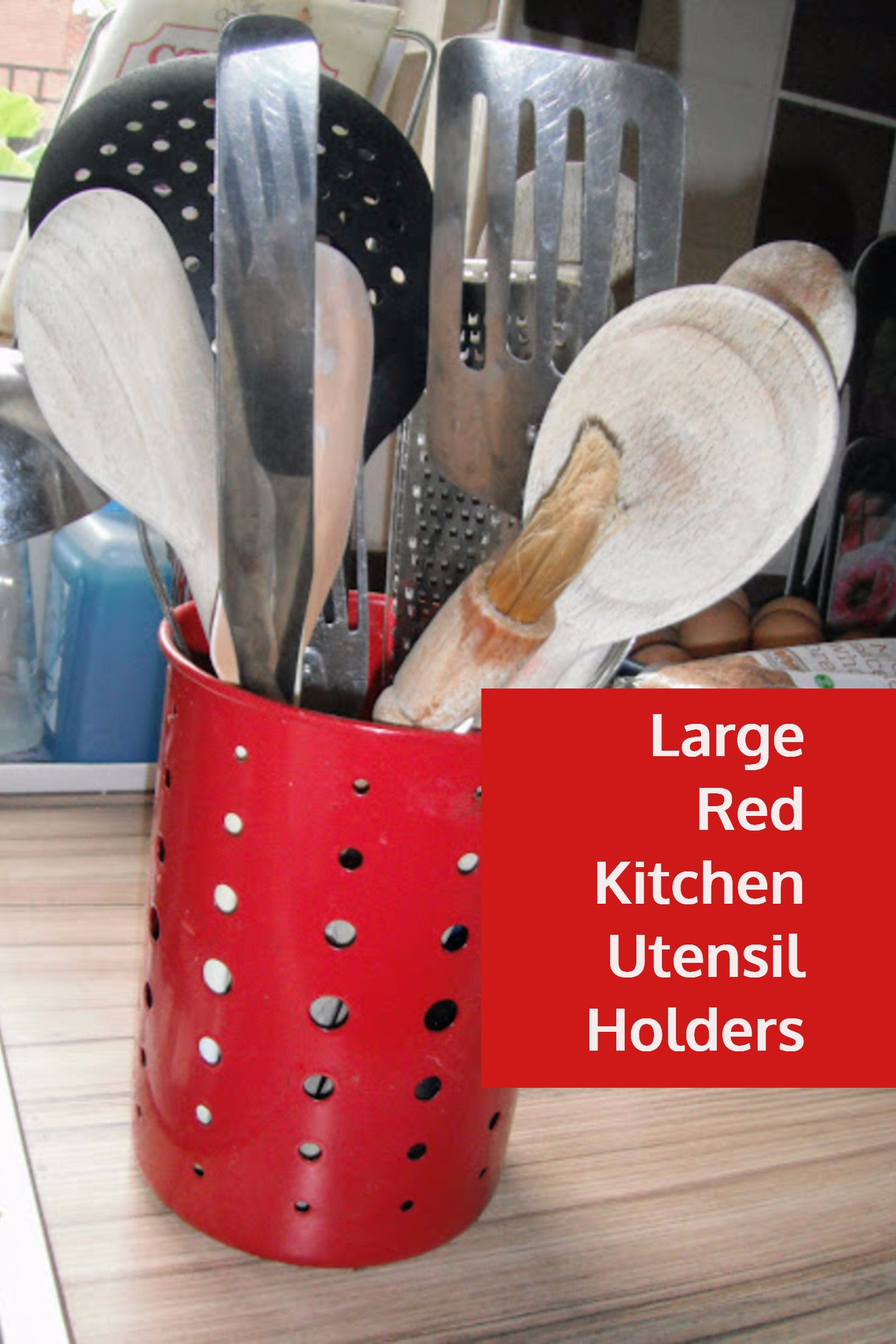 Large Red Kitchen Utensil Holders