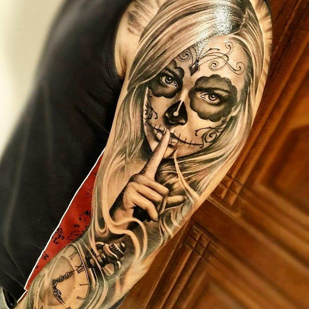 muerte tattoo best tattoos pinterest tattoos sleeve tattoos and tattoo designs. Black Bedroom Furniture Sets. Home Design Ideas