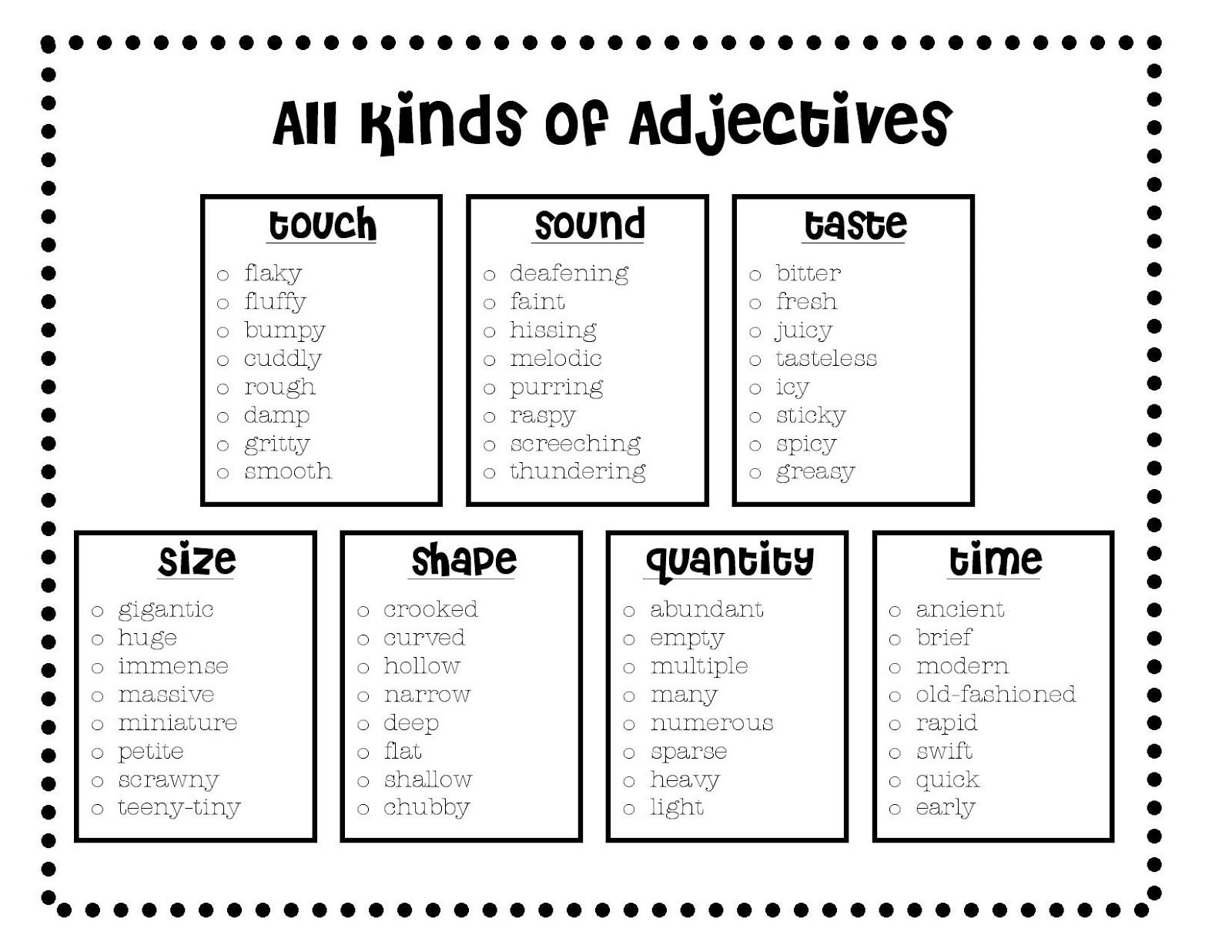 All Kinds Of Adjectives