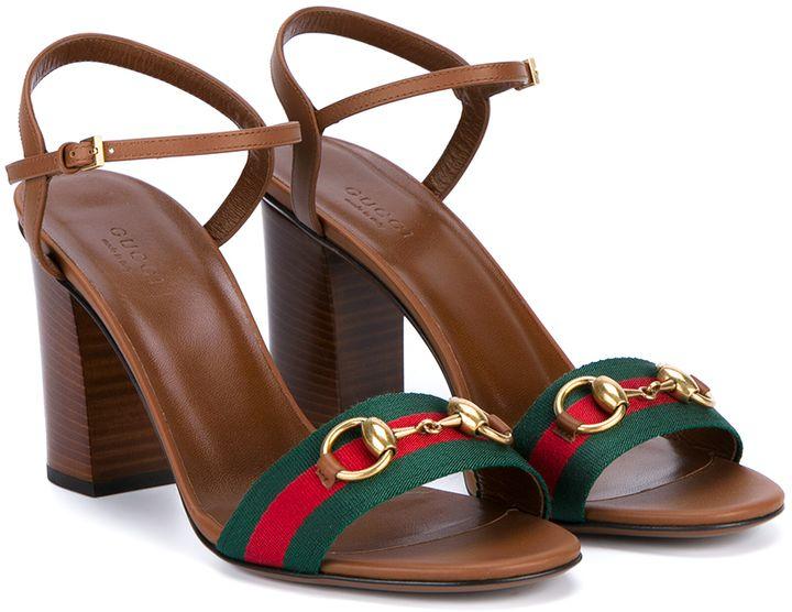 bdbf491edda GUCCI Leather Block Heel Sandals
