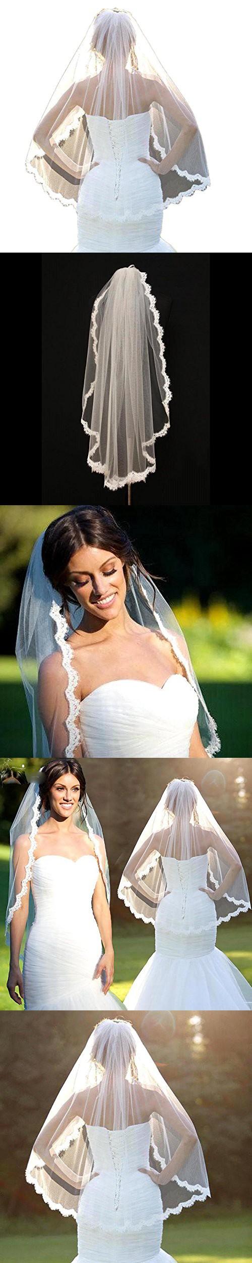 Marryou onelayer lace edge finger length bridal veil white short