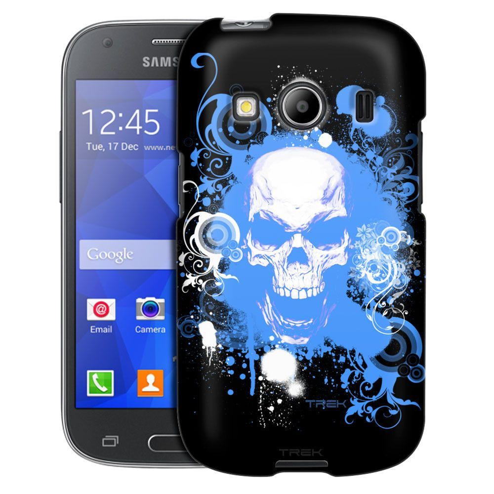 Samsung Galaxy Ace Style Blue Skull on Black Case