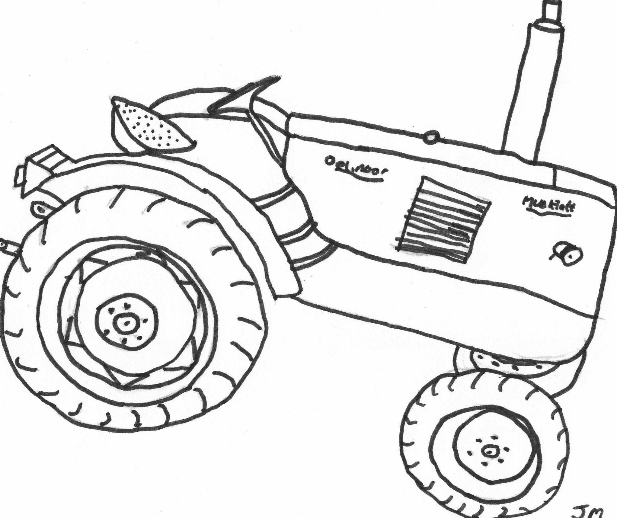 elegant kleurplaat van een tractor