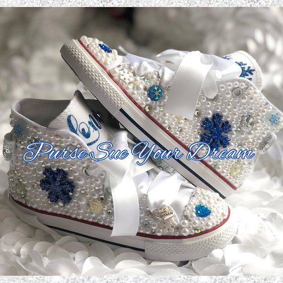 Personalized Frozen Themed Pearl and Swarovski Crystal Converse Shoes -  Frozen Birthday - Frozen Bir 6a31c1a7e8