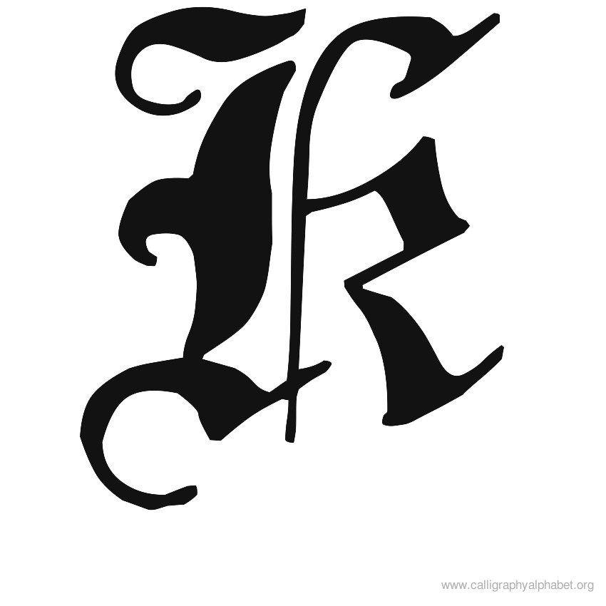 Old English Font Letter K