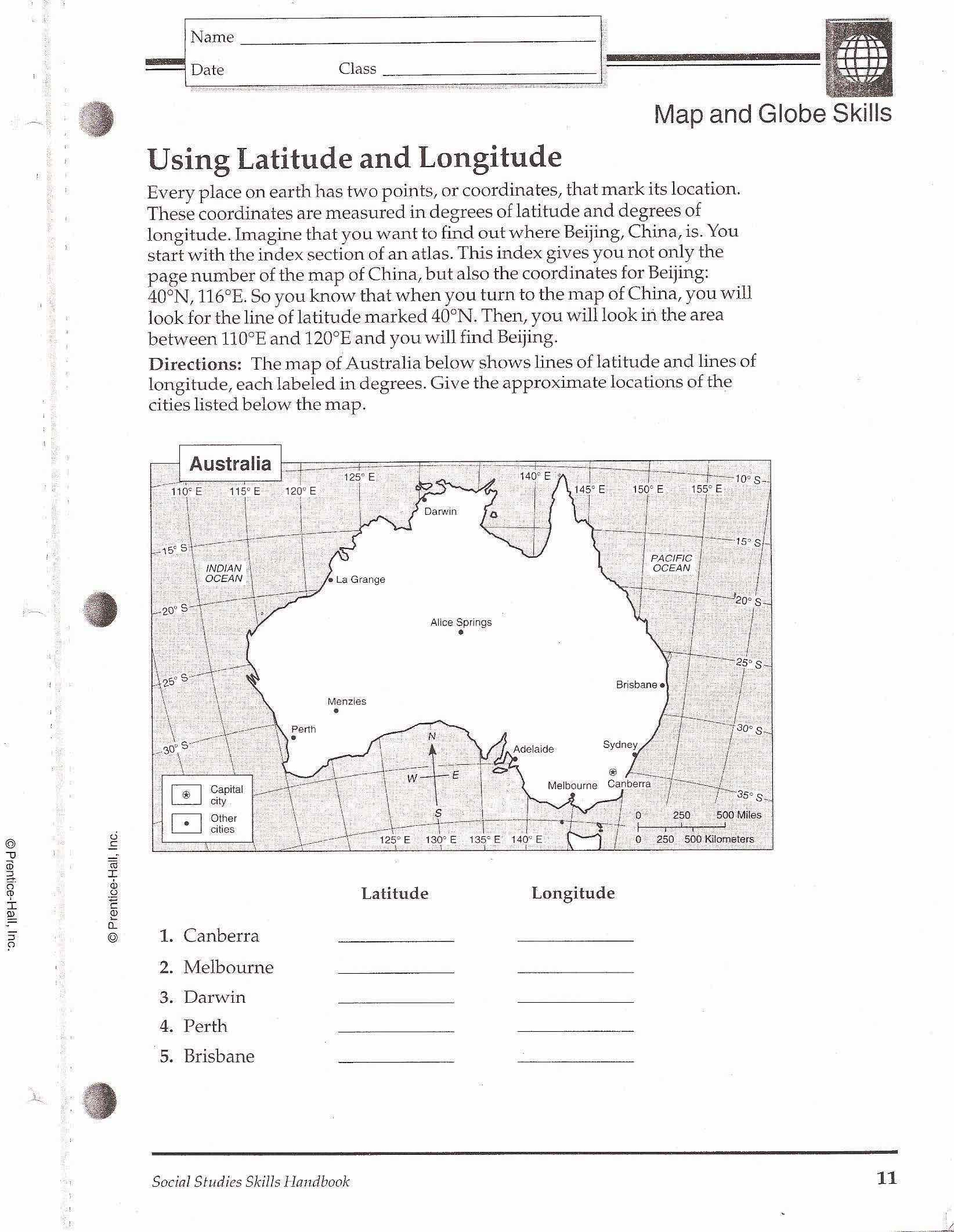 Geography Quiz Map Skill Worksheet