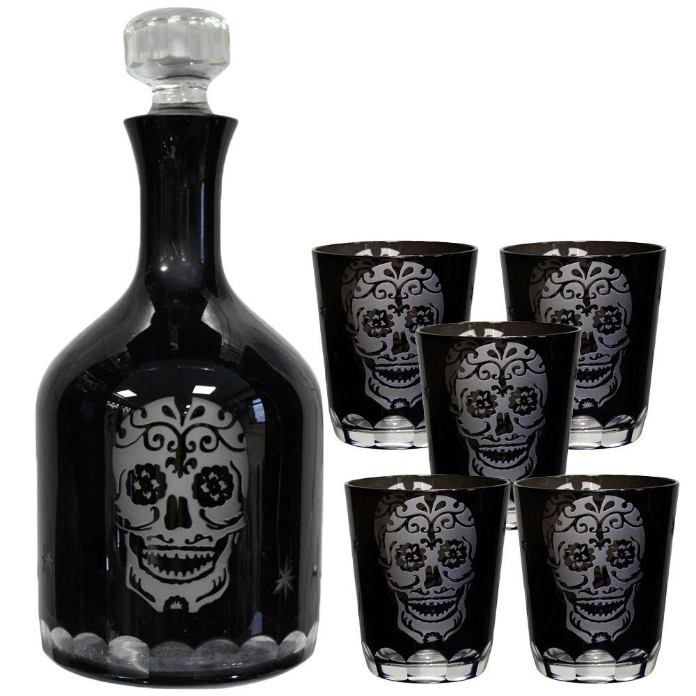 Skull Bathroom Decor Nemesis Now Gothic Skull Glasses Set Of 2 Black Glass Sugar Skull