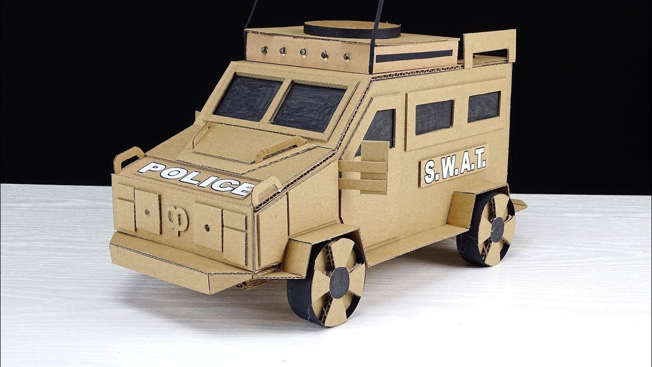 Homemade car toys  Diy Police Swat Armored Vehicle Truck  Cardboard Toys  DIY