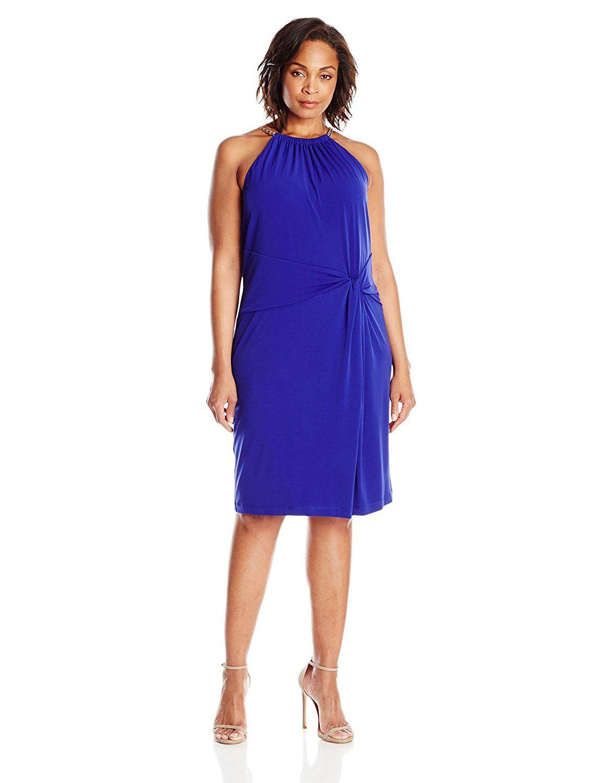 Calvin Klein Women's Plus-Size Chain Halter Neck Dress -- Unbelievable  item right here! : Women clothing