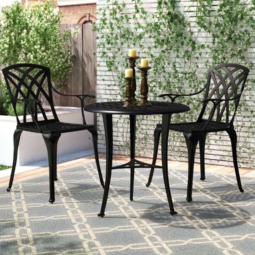 Admirable Nuu Garden 3 Piece Aluminum Outdoor Patio Bistro Set Lake Home Remodeling Inspirations Cosmcuboardxyz