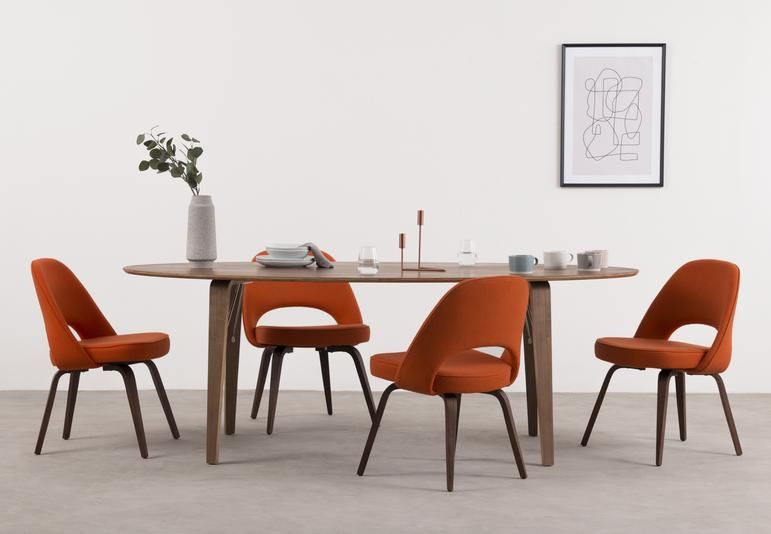 Executive Executive Armless Dining Chair Orange And Walnut Dining Chairs Chair Modern Dining Room