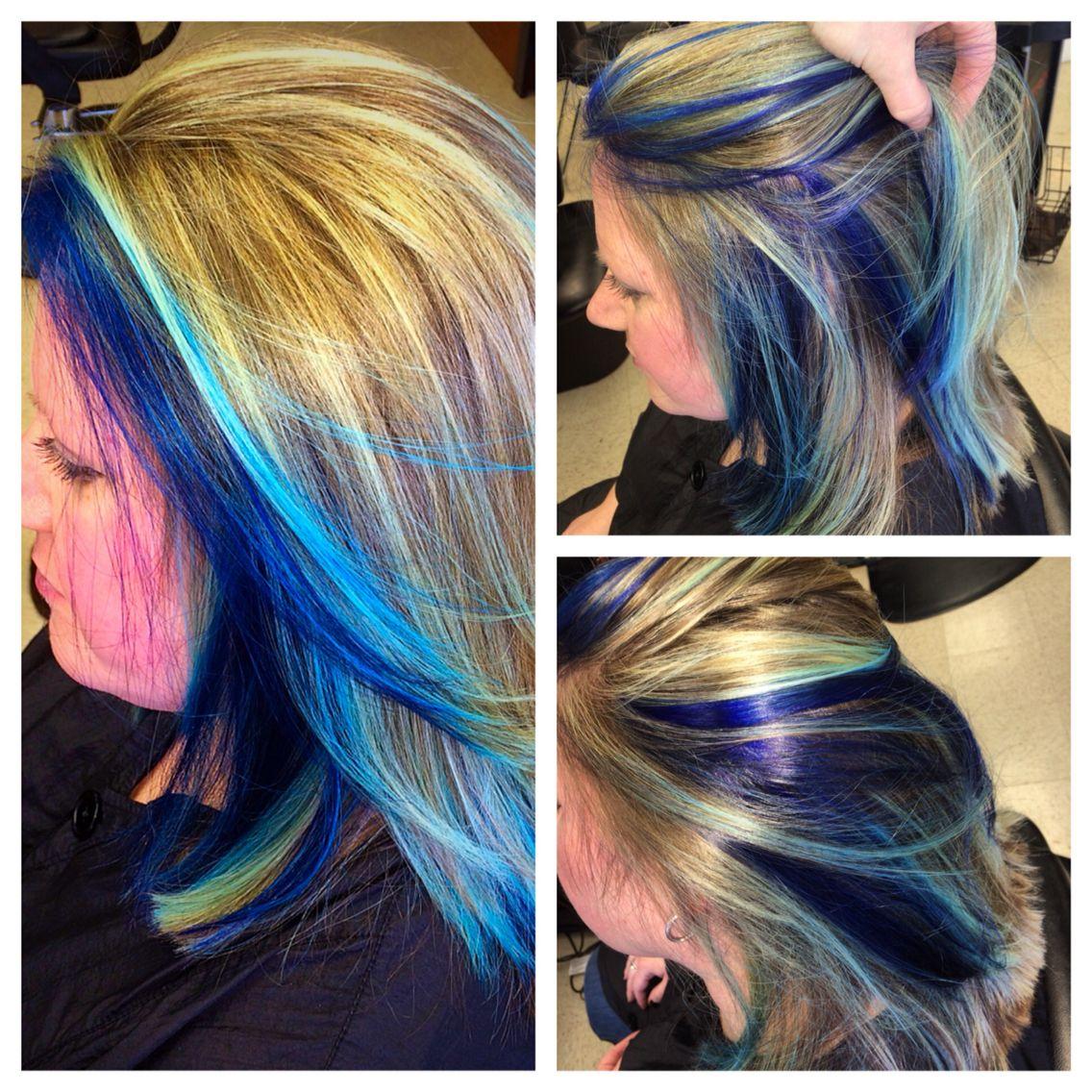 Blue Peekaboo Highlights Blue Peekaboo Highlights Peekaboo Hair Peekaboo Highlights