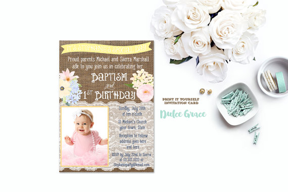 Pastel Baptism 1st Birthday Invitation DIY PRINTABLE First Photo Invi