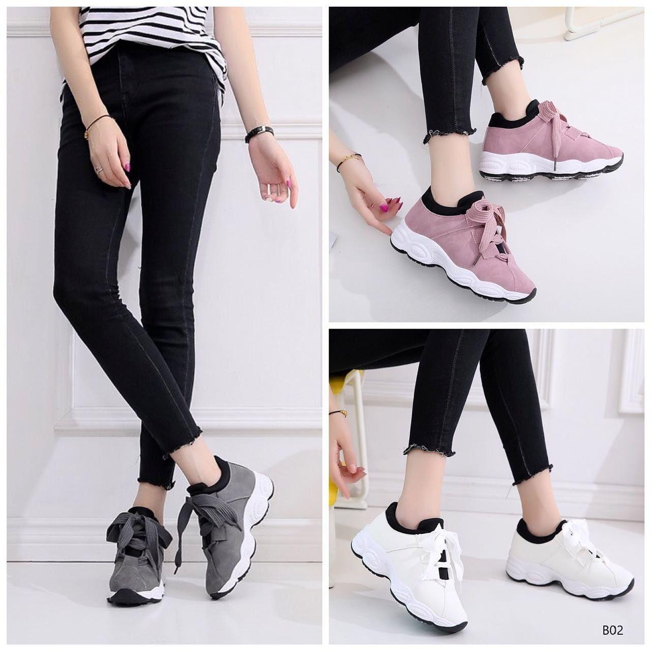 Korea Fashion Sneakers Elena B02 Bahan Kulit Variasi Grey Pink