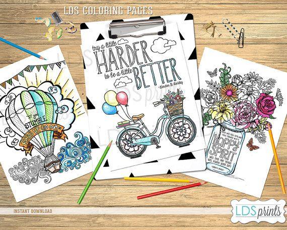 LDSCBSET01 - LDS Adult Coloring Pages Happy Life set LDS printable ...